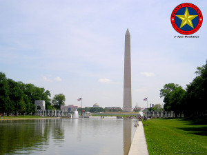 Washington D.C. - the Lincoln reflecting pool (foreground), WWII memorial, Washington monument, then the Capitol dome.